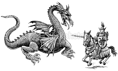 Stock-illustration-16417810-knight-and-dragon-medieval