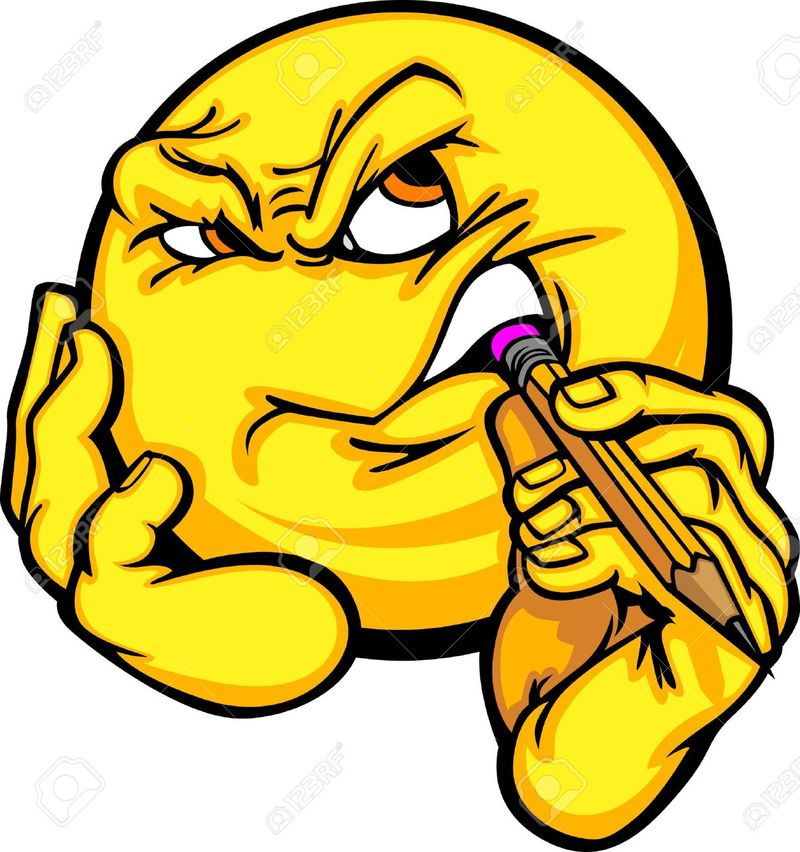11375497-Cartoon-Emoticon-Yellow-Face-Pondering-Creativity-Chewing-on-a-Pencil-Stock-Vector