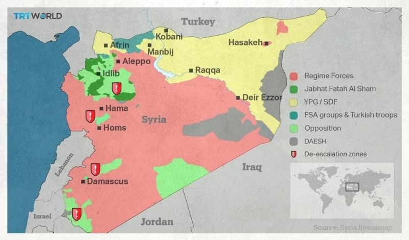 Syria on a world map shows territory under the control of different syria on a world map shows territory under the control of different sides in conflict turkey russia gumiabroncs Gallery