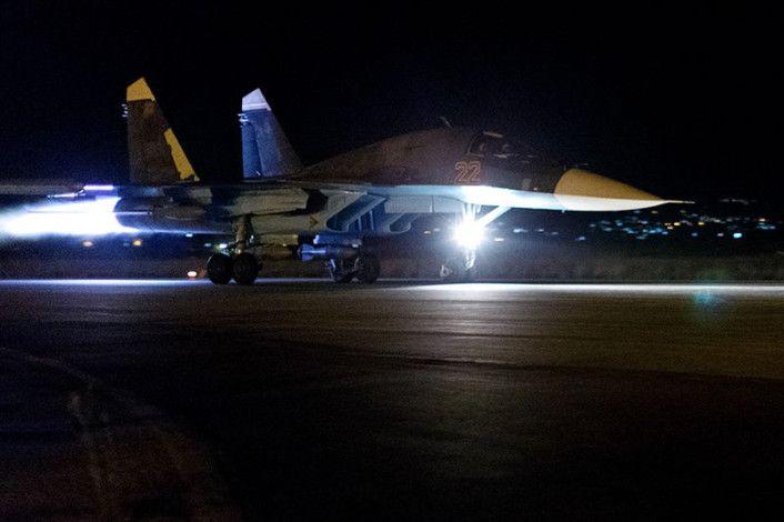 Su-34 night take off