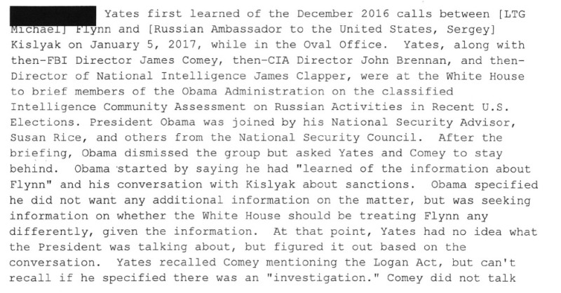 Sally Yates Account of the Obama Meeting on 5 January