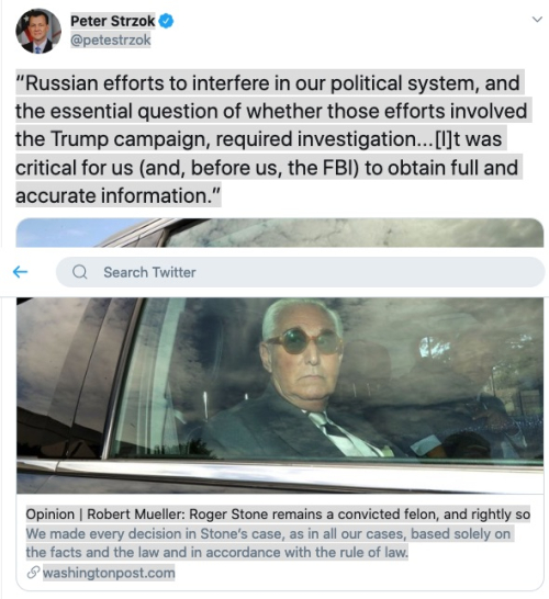 """Screenshot_2020-07-27 Peter Strzok on Twitter """"Russian efforts to interfere in our political system  and the essential ques[...]"""
