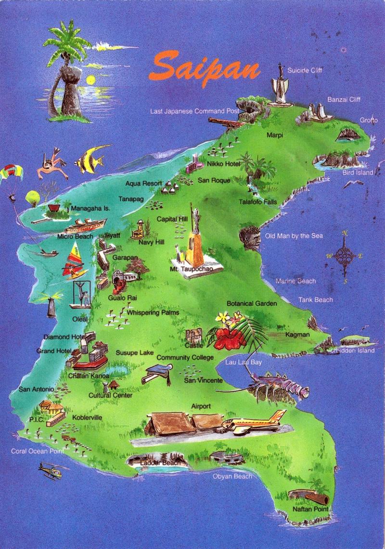 Northern mariana islands postcard saipan Sankattan Siha Na Islas Mariånas